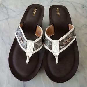 COACH Slide On Jolene Sandals White and Brown 9.5B